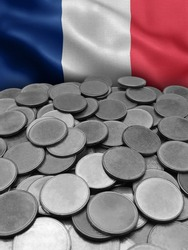 coins isolated on france flag background.