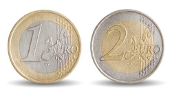 Coins of 1 and 2 Euro - European Union money