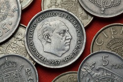 Coins of Spain. Spanish dictator Francisco Franco depicted in the Spanish 25 peseta coin (1957).