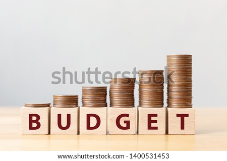 Coins on stack stair as step growing growth and wooden cube block with word BUDGET. Money annual budget concept