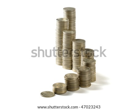 coins pyramid  on the white background
