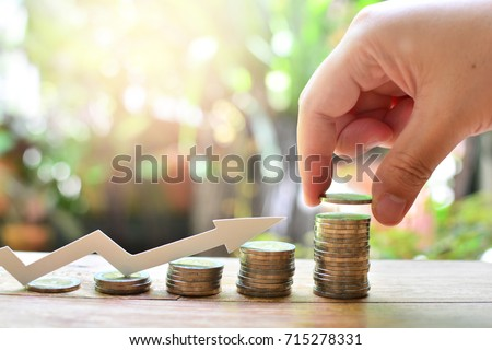 coins saving increase to profit for concept investment fund finance and business  Foto stock ©