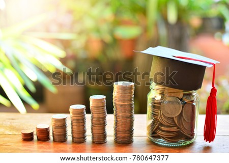 coins saving money increase investment to student loan for concept fund finance scholarship and education #780647377