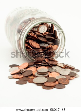 Coins Spilled From Jar