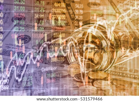 Coins spilling out of a glass bottle and american dollars money over the LED display Stock market exchange data background, Business investment and trading concept