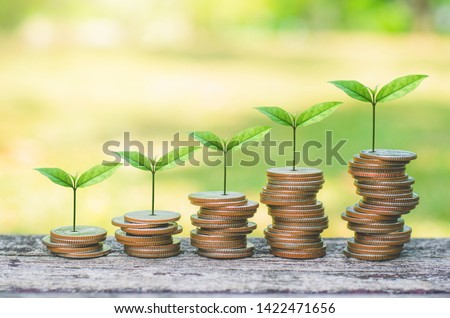 coins stack on wood table with green plant growing on. money saving business finance success wealth investment budget concept. startup plan. ESG. #1422471656