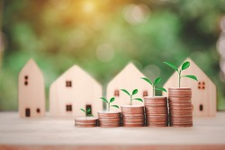 Coins stack with tree in front of houses, concept for saving money, step to keep money for new home, prepare money for future isolate on bokeh background.