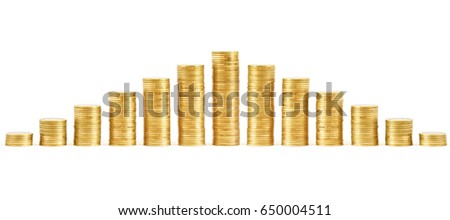 Coins stacks isolated on a white background