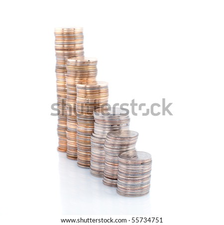 Coins  towers on white background