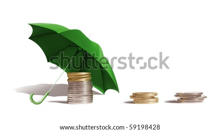 Coins under an umbrella on a white background.