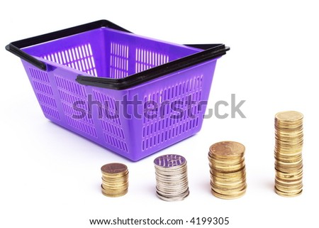 Coins with shopping cart.Represents growing sales.