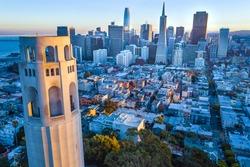 Coit Tower and San Francisco City Skyline