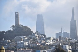 Coit Tower at San Francisco with a little fog at midday