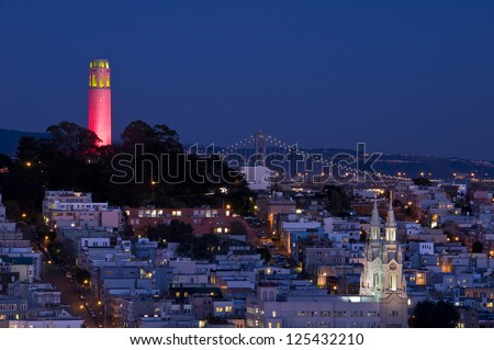 Coit tower lit up red and gold for the 49ers trip to the super bowl
