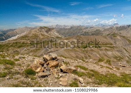 Col de la Bonette is a high mountain pass in the French Alps, near the border with Italy. It is situated within the Mercantour National Park on the border of the departments of Alpes-Maritimes and Alp #1108029986