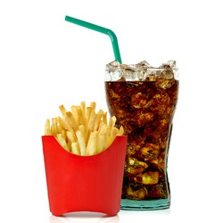 Cola and french fries isolated on white background