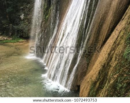 Cola de Caballo waterfall. Cola de Caballo is a waterfall about 40 km from Monterrey, Mexico, in the town of Villa de Santiago, Nuevo Leon. Stok fotoğraf ©