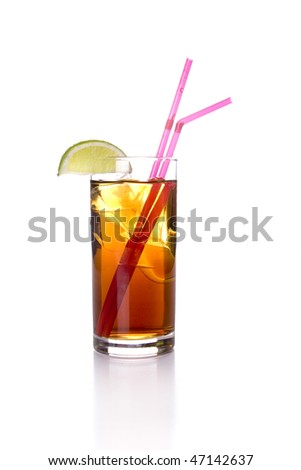 Cola Drink with lime on white ground