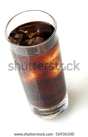 Cola glass, above view, isolated on white background