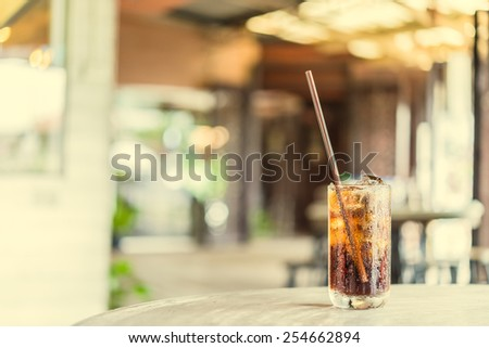 Cola glass in restaurant vintage effect style pictures