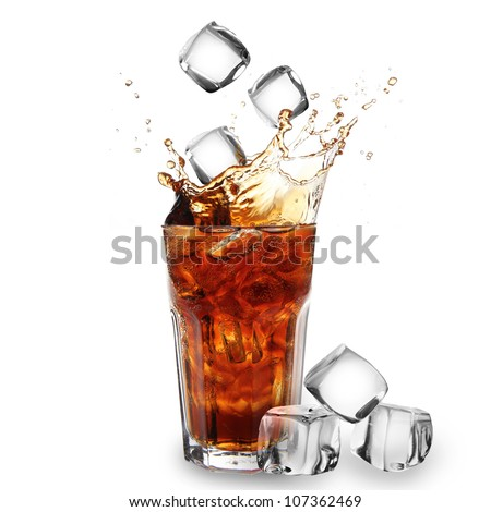 Cola glass with falling ice cubes over white #107362469