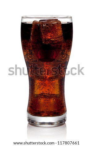 Cola glass with ice cubes on a white background. The file includes a clipping path.