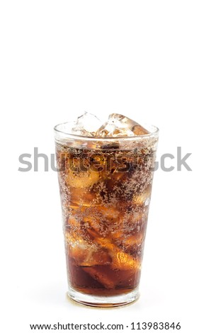 Cola glass with ice isolated on white background