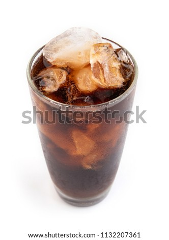 Cola in a glass isolated on white background. #1132207361