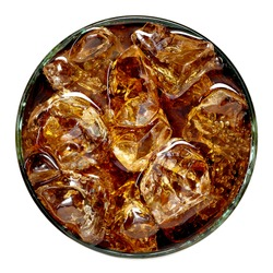 Cola in glass with ice isolated on white background from top view.