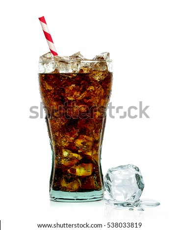 Cola in original glass with straw and ice cubes isolated on white background Zdjęcia stock ©