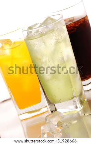 Cola,orane and lime drink