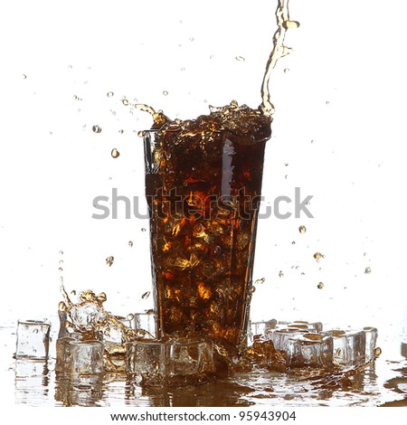 cola splash and ice cubes