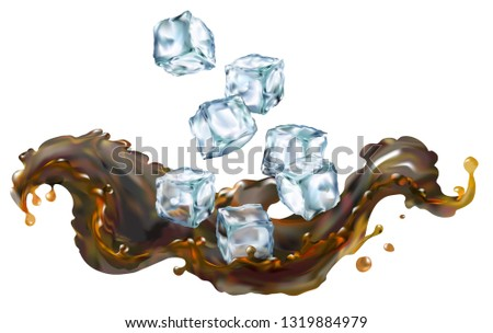 Cola splash transparent 3d illustration realistic for your design. Clip art.