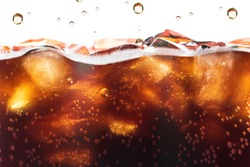Cola Splashing background with soda bubble. Soft drink or Refreshment.