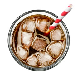 Cola with ice and drinking straw, isolated on white background.