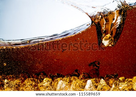 Cola with Ice. Splash