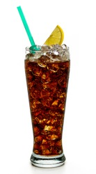 Cola with lemon slice and straw on white background