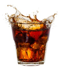 Cola with splash of ice cubes on white. With clipping path