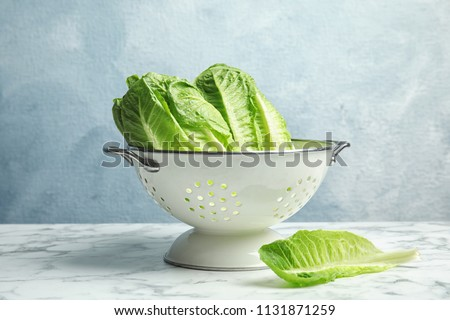 Colander with fresh ripe cos lettuce on marble table #1131871259