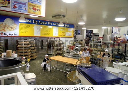 COLBORNE, ONTARIO - OCTOBER 8: An internal view of The Big Apple pie factory on October 8, 2012 in Colborne, Ontario. One of the first apple pie recipes dates back in 1381.