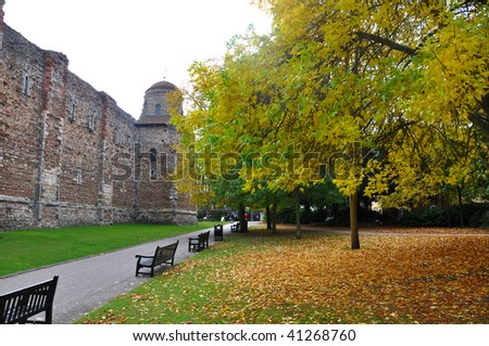 Colchester Castle in the fall
