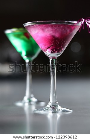 cold and fresh european cocktail with berry