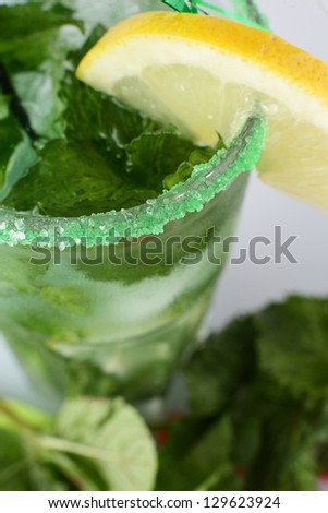 cold and tasty cocktail on white background