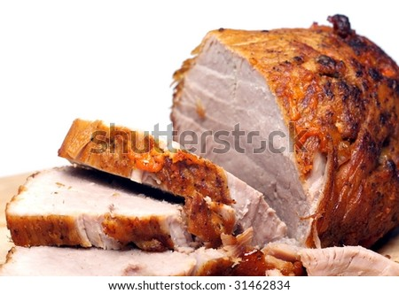cold baked pork with white background on the table.