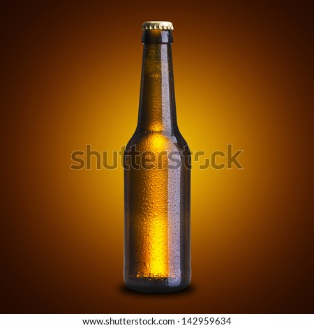 Cold Beer Bottle with Water Drop