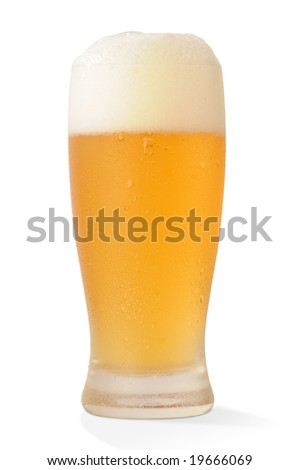 Cold beer glass on white background with path