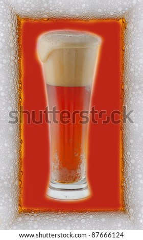 Cold beer with froth frame