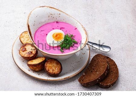 Cold betroot soup (saltibarsciai, holodnik, auksta zupa) on stone background Zdjęcia stock ©