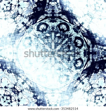 Cold blue indian pattern, floral circle with tribal traditional elements. Luxury Christmas texture, frozen snowflake. Boho textile background, oriental ethnic carpet