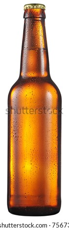 Cold bottle of beer with condensated water drops on it. File contains clipping path. #756733996